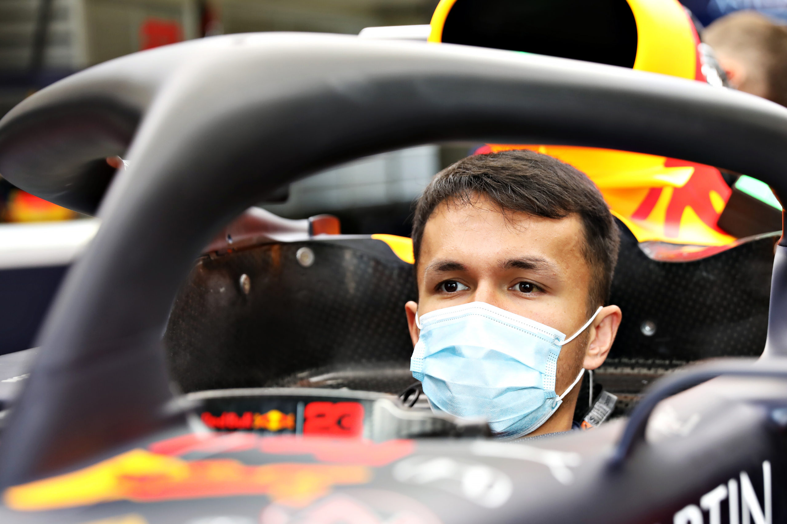 SPIELBERG, AUSTRIA - JULY 02: Alexander Albon of Thailand and Red Bull Racing sits in his car in the garage during previews for the F1 Grand Prix of Austria at Red Bull Ring on July 02, 2020 in Spielberg, Austria. (Photo by Getty Images/Getty Images) // Getty Images / Red Bull Content Pool  // AP-24HMUC3M11W11 // Usage for editorial use only //